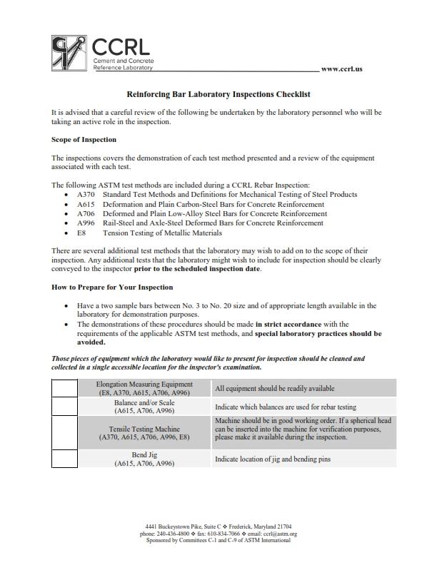 Concrete Inspection Report : Pre inspection checklists